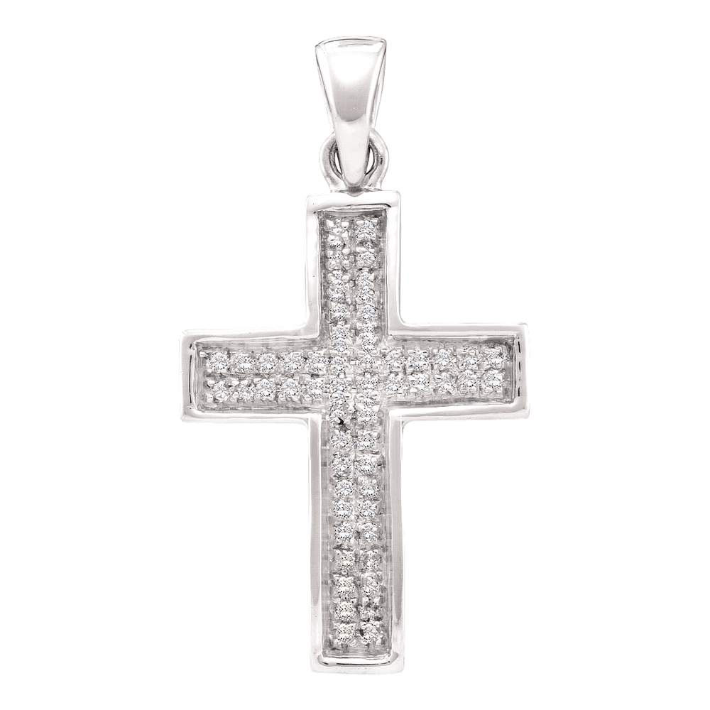 0.16 CTW Diamond Cross Pendant 10KT White Gold - REF-11Y2X