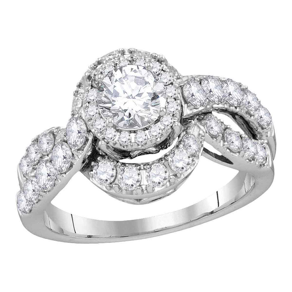 1.99 CTW Diamond Bridal Wedding Engagement Anniversary Ring 14k White Gold - REF-400X4Y