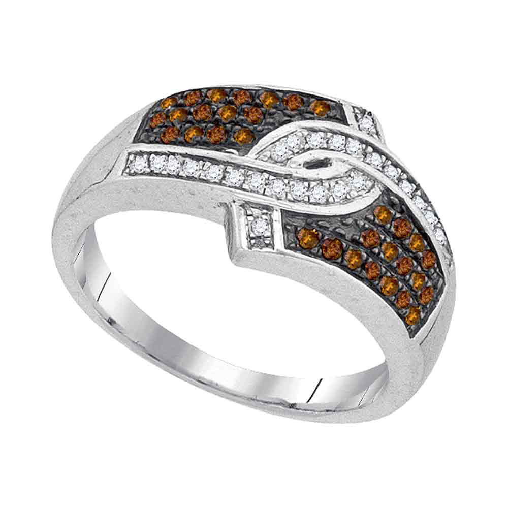 0.33 CTW Cognac-brown Color Diamond Hooked Ring 10KT White Gold - REF-28W4K