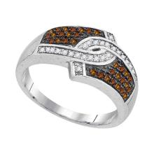 Lot 3048: 0.33 CTW Cognac-brown Color Diamond Hooked Ring 10KT White Gold - REF-28W4K
