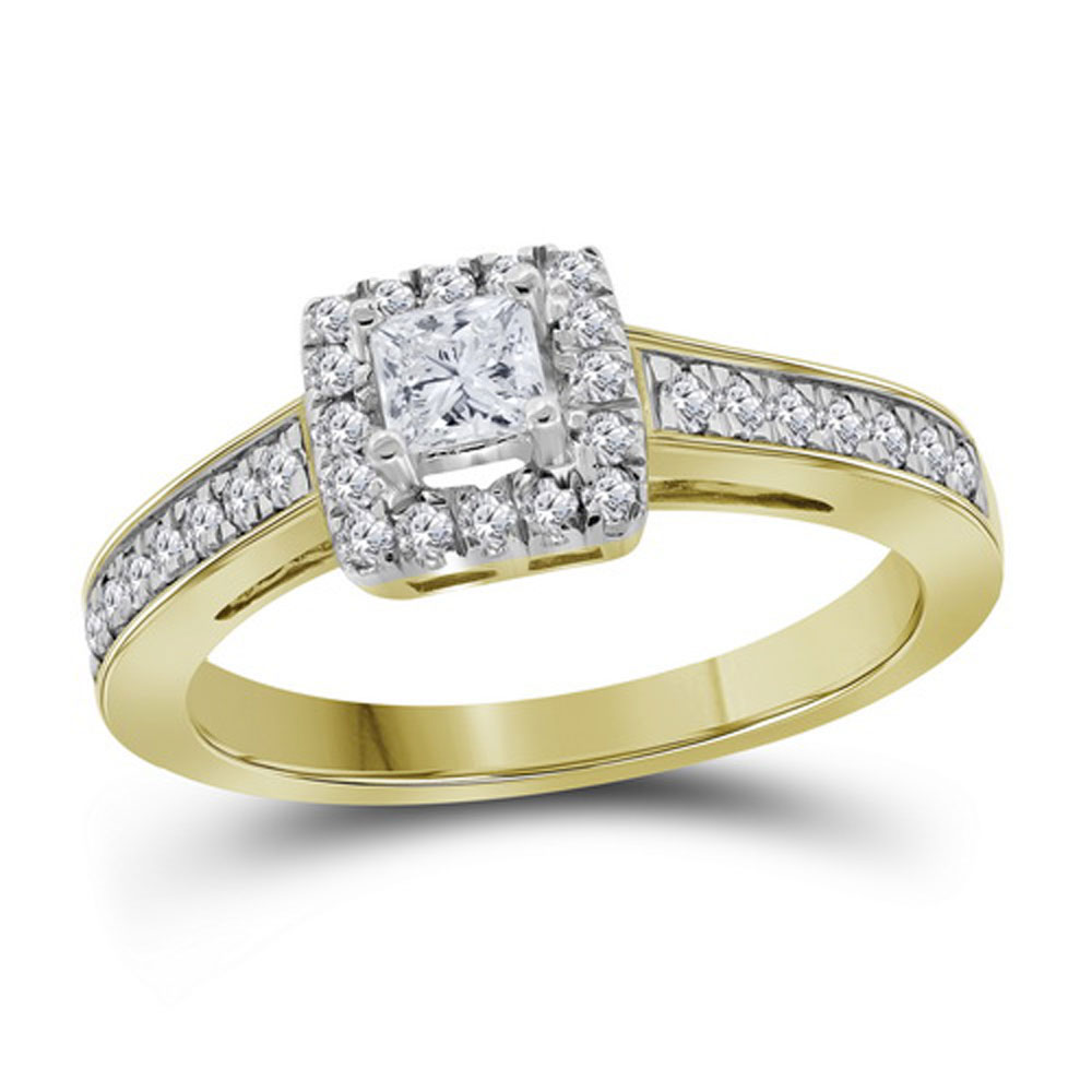 0.49 CTW Princess Diamond Solitaire Bridal Engagement Ring 14KT Yellow Gold - REF-71H9M