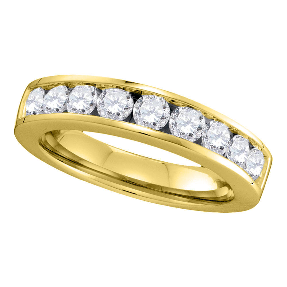 1 CTW Diamond Single Row Wedding Ring 14KT Yellow Gold - REF-119H9M