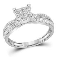 Lot 3070: 0.25 CTW Diamond Square Cluster Ring 10KT White Gold - REF-25X4Y