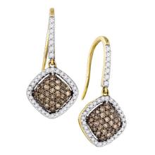 Lot 3076: 0.60 CTW Cognac-brown Color Diamond Square Dangle Earrings 10KT Yellow Gold - REF-33W8K