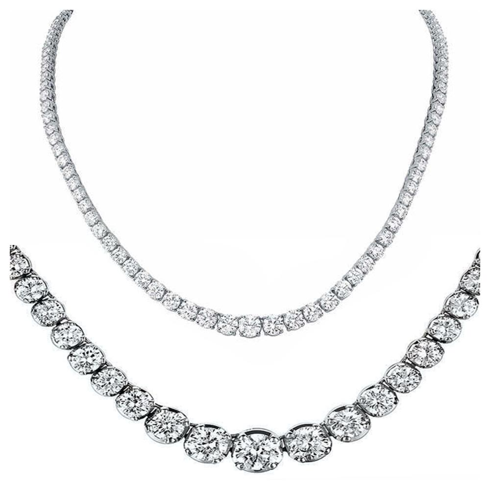 Natural 14.18CTW VS2/I-J Diamond Tennis Necklace 18K White Gold - REF-1468K8F