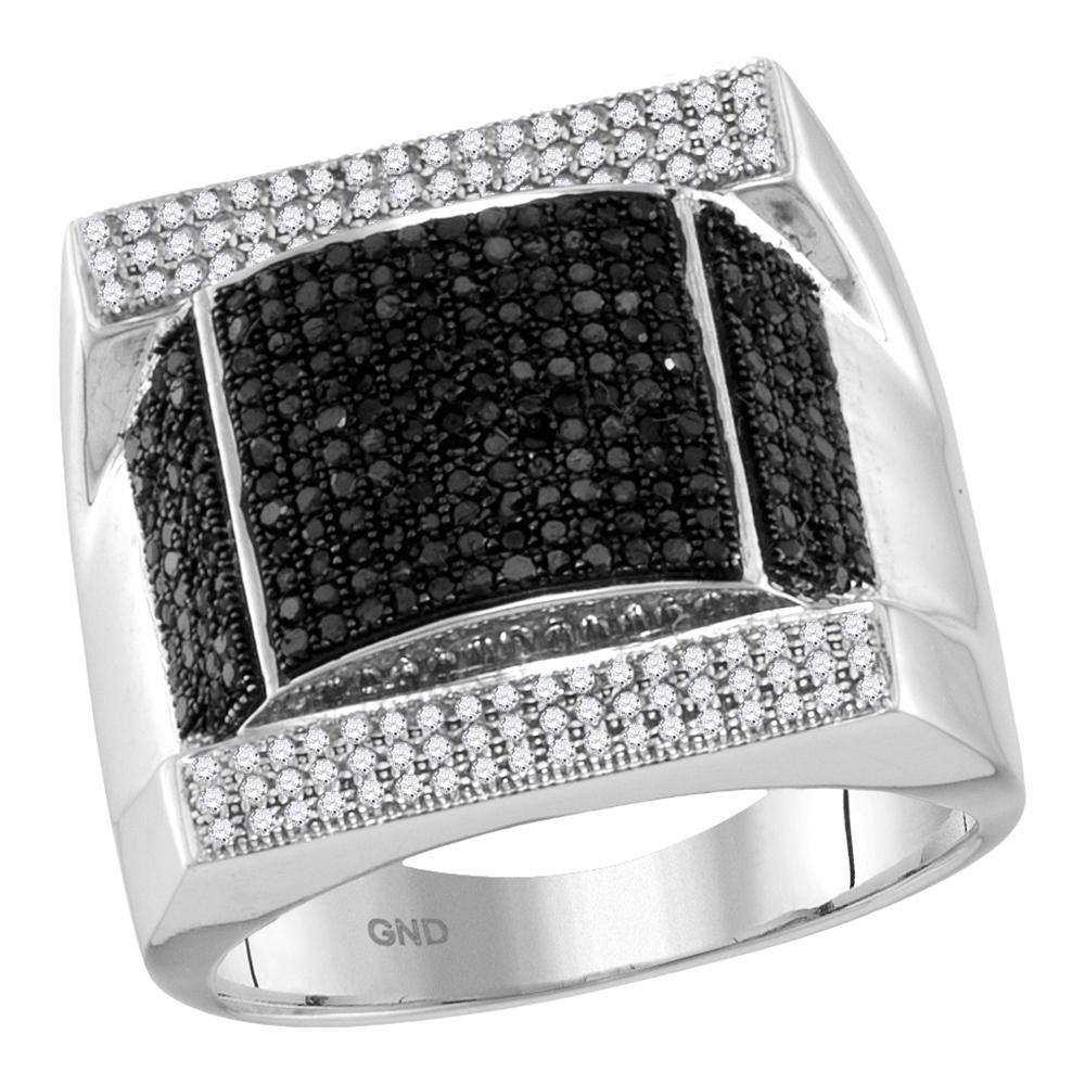 1.08 CTW Mens Black Color Diamond Domed Rectangle Cluster Ring 10KT White Gold - REF-97W4K