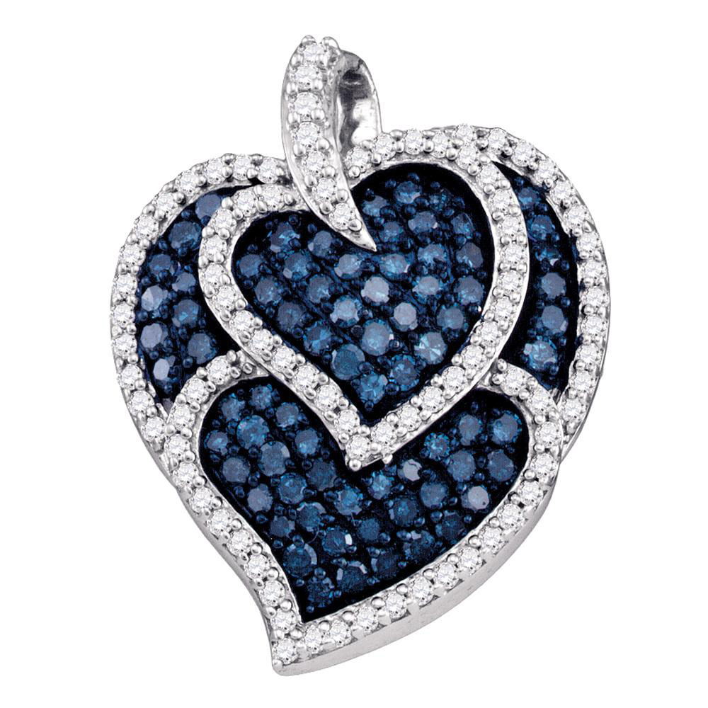 1.05 CTW Blue Color Diamond Tripled Heart Outline Pendant 10KT White Gold - REF-37Y5X