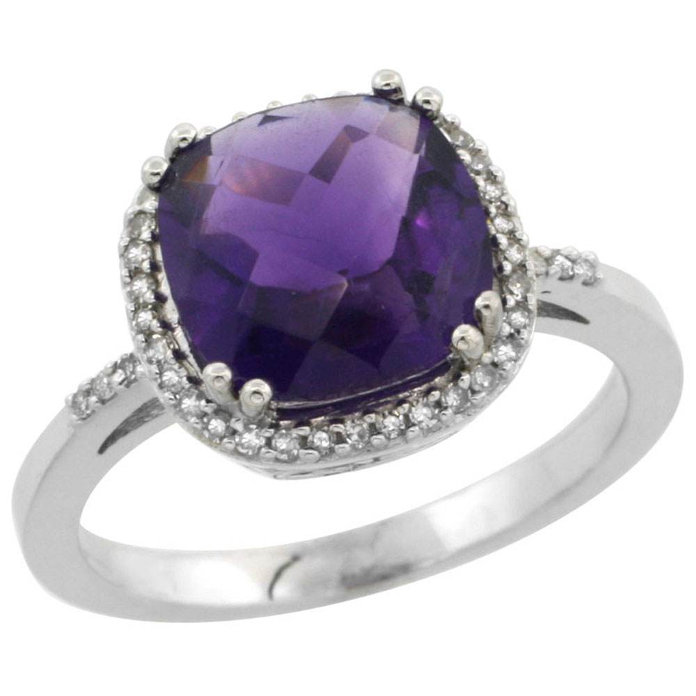 Natural 4.11 ctw Amethyst & Diamond Engagement Ring 10K White Gold - REF-34W3K