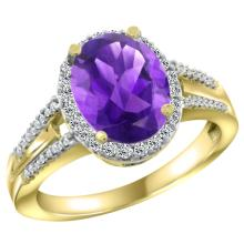 Lot 3091: Natural 2.72 ctw amethyst & Diamond Engagement Ring 10K Yellow Gold - REF-45G3M