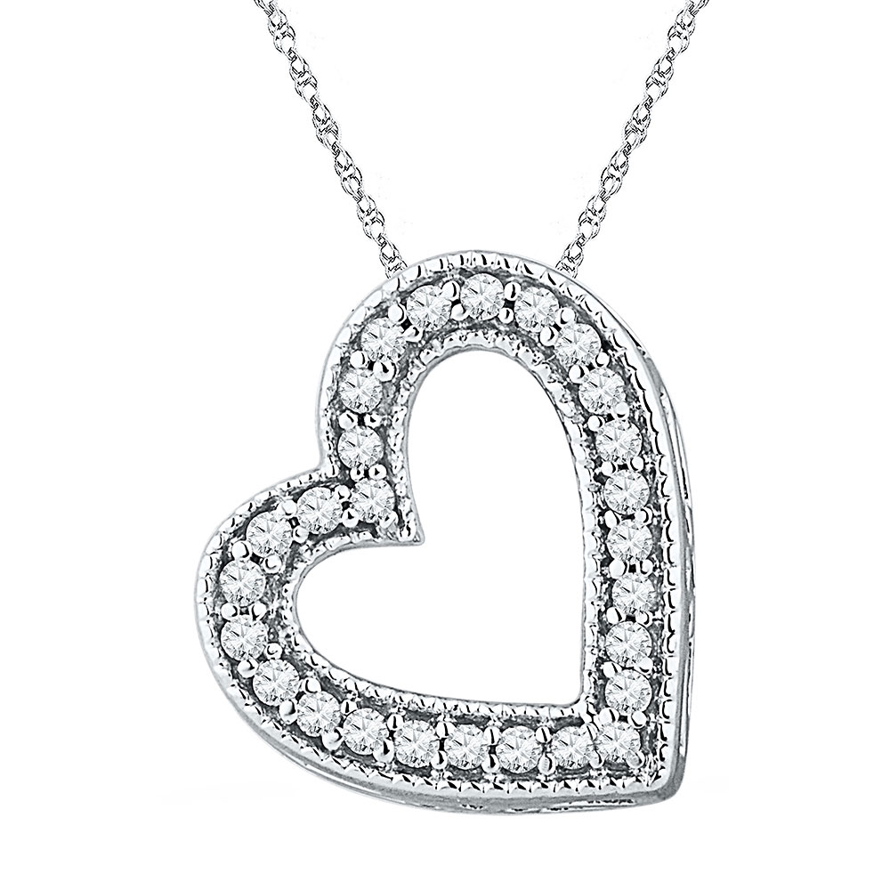 0.12 CTW Diamond Heart Love Pendant 10KT White Gold - REF-9H7M