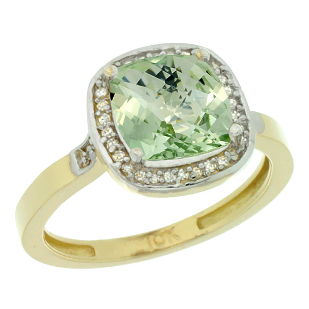Natural 3.94 ctw Green-amethyst & Diamond Engagement Ring 14K Yellow Gold - REF-38R3Z