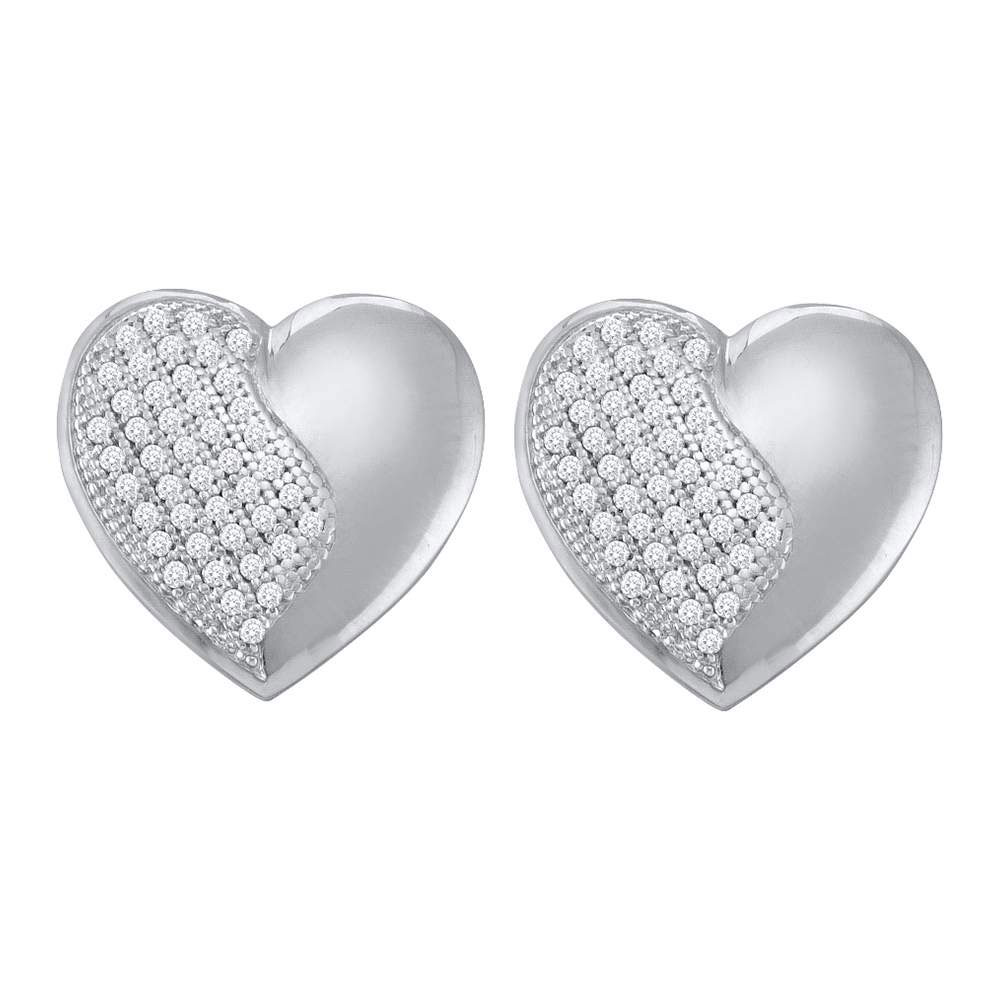 0.25 CTW Diamond Heart Stud Earrings 10KT White Gold - REF-36H2M
