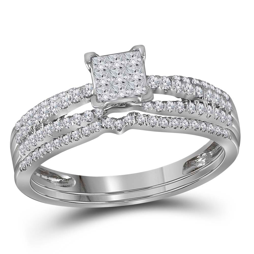 0.50 CTW Princess Diamond Cluster Bridal Engagement Ring 14KT White Gold - REF-52K4W