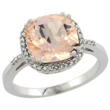 Lot 3115: Natural 2.81 ctw Morganite & Diamond Engagement Ring 10K White Gold - REF-59Z7Y