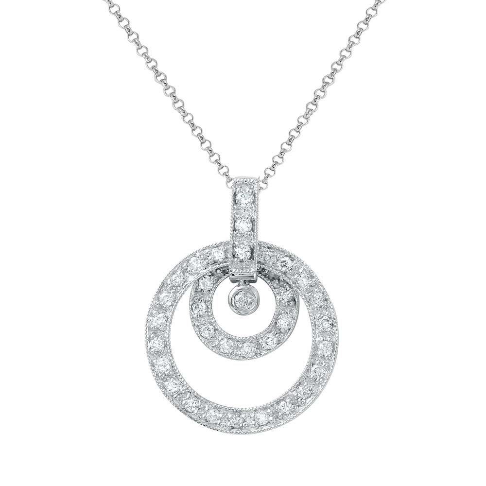Natural 0.45 CTW Diamond Necklace 14K White Gold - REF-40N5Y