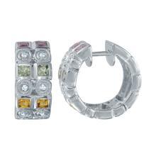 Lot 3125: Natural 1.39 CTW Multi-Color Sapphire & Diamond Earrings 14K White Gold - REF-62W9H