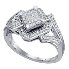 Lot 3132: 0.35 CTW Diamond Diagonal Square Cluster Ring 10KT White Gold - REF-41Y9X