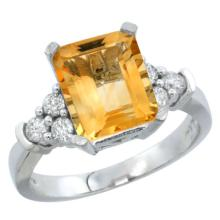 Lot 3137: Natural 2.86 ctw citrine & Diamond Engagement Ring 10K White Gold - REF-53Z5Y