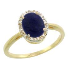 Lot 3153: Natural 1.05 ctw Lapis & Diamond Engagement Ring 10K Yellow Gold - REF-19V3F