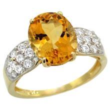 Lot 3152: Natural 2.75 ctw citrine & Diamond Engagement Ring 14K Yellow Gold - REF-58K4R
