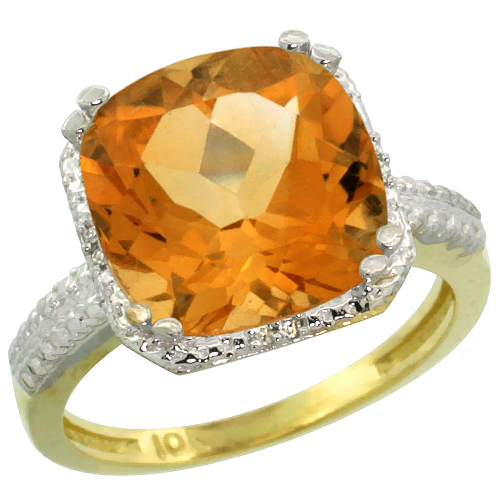 Natural 5.96 ctw Citrine & Diamond Engagement Ring 10K Yellow Gold - REF-32Z4Y