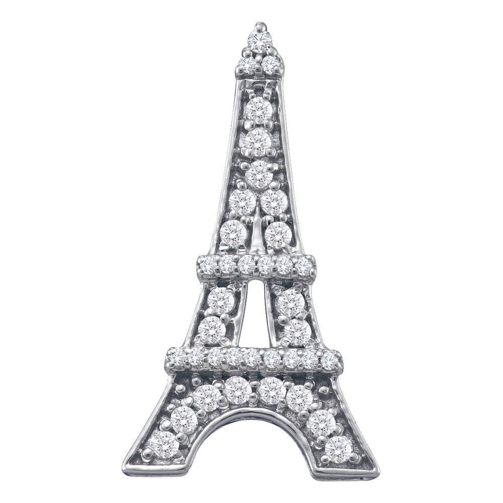0.32 CTW Diamond Eiffel Tower Fashion Pendant 10KT White Gold - REF-26F9N