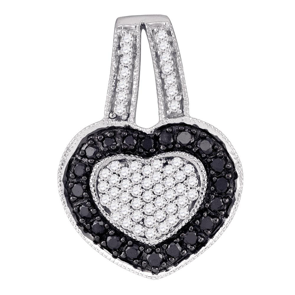 0.51 CTW Black Color Diamond Heart Pendant 10KT White Gold - REF-22H4M