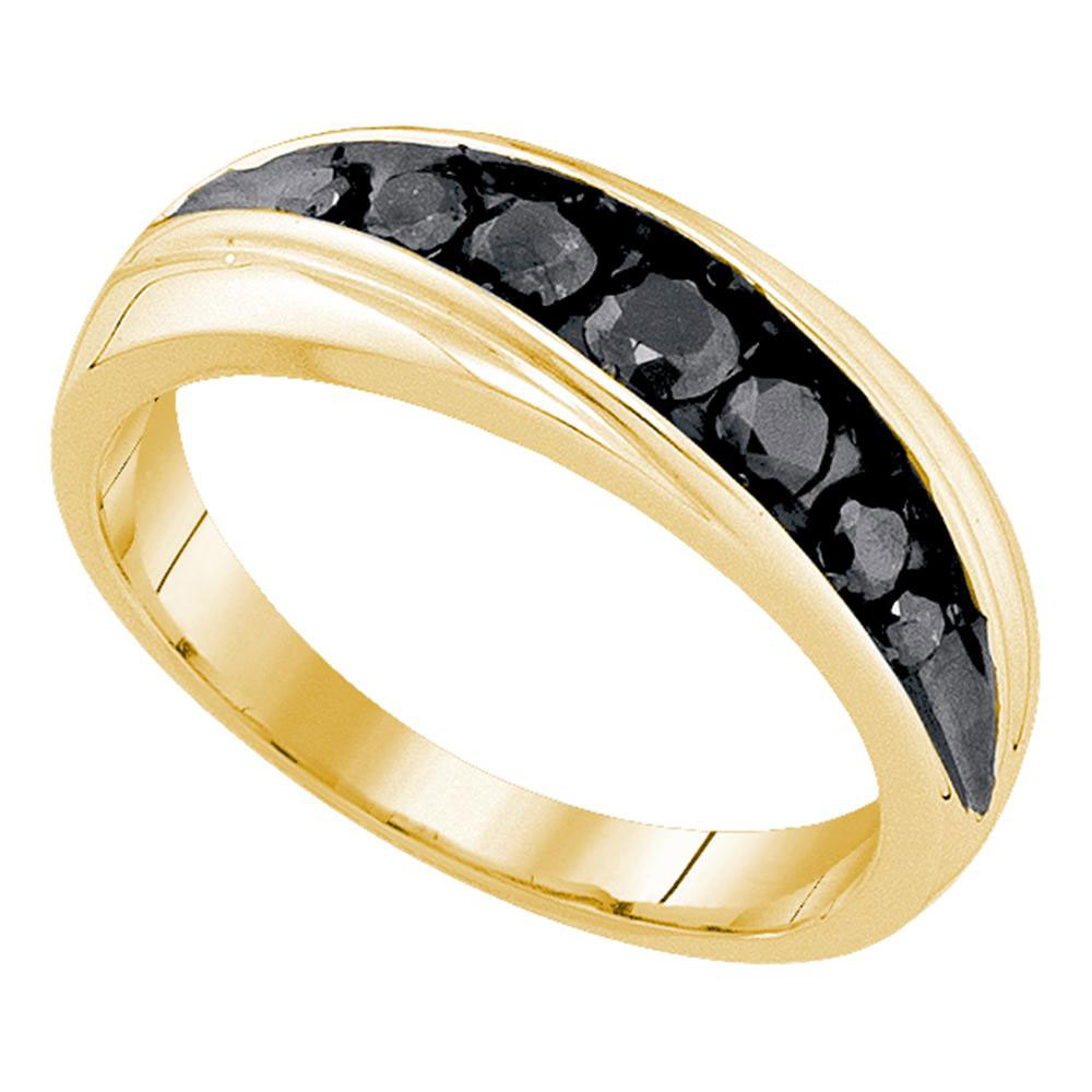 0.75 CTW Mens Black Color Diamond Ring 10KT Yellow Gold - REF-26N9F