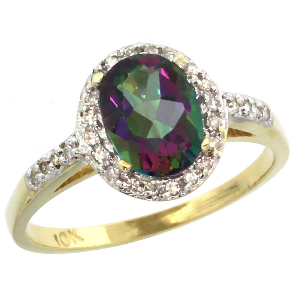 Natural 1.3 ctw Mystic-topaz & Diamond Engagement Ring 14K Yellow Gold - REF-32K2R