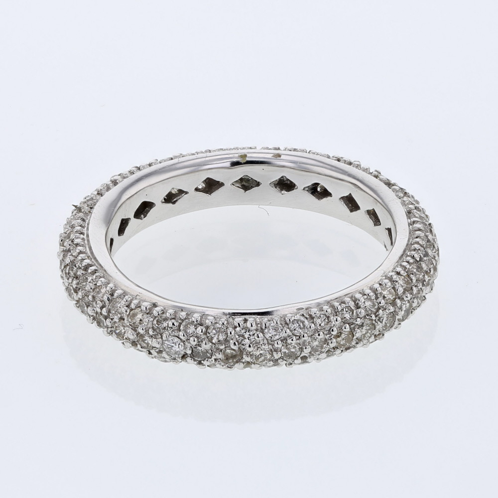 Natural 1.25 CTW Diamond Ring 14K White Gold - REF-70X2R