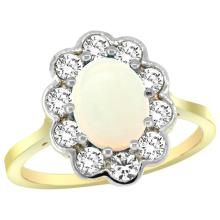 Lot 3188: Natural 1.64 ctw Opal & Diamond Engagement Ring 14K Yellow Gold - REF-81A3V