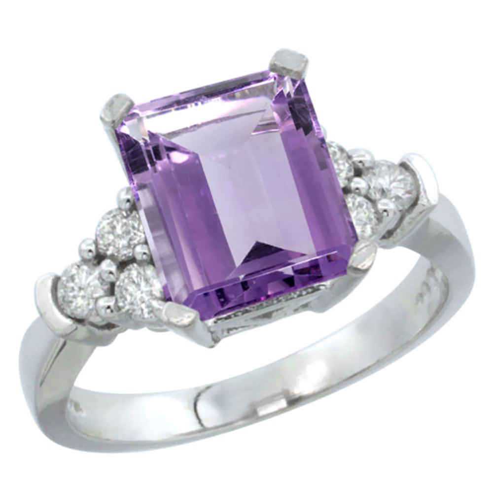Natural 2.86 ctw amethyst & Diamond Engagement Ring 10K White Gold - REF-53F5N