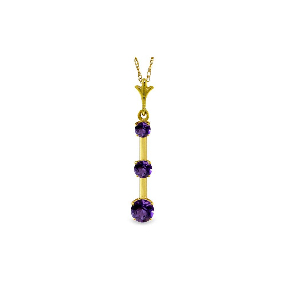 Genuine 1.25 ctw Amethyst Necklace Jewelry 14KT Yellow Gold - REF-29P3H