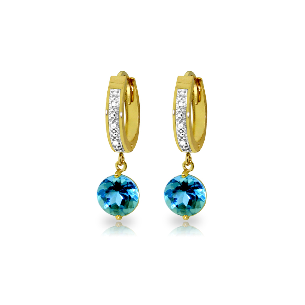Genuine 3.28 ctw Blue Topaz & Diamond Earrings Jewelry 14KT Yellow Gold - REF-55N3R
