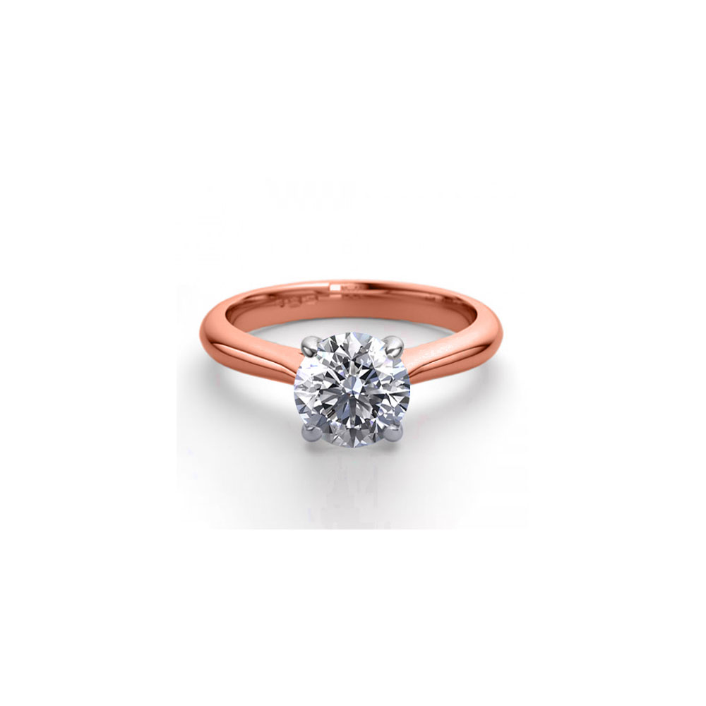 14K Rose Gold 1.36 ctw Natural Diamond Solitaire Ring - REF-403G2K-WJ13246
