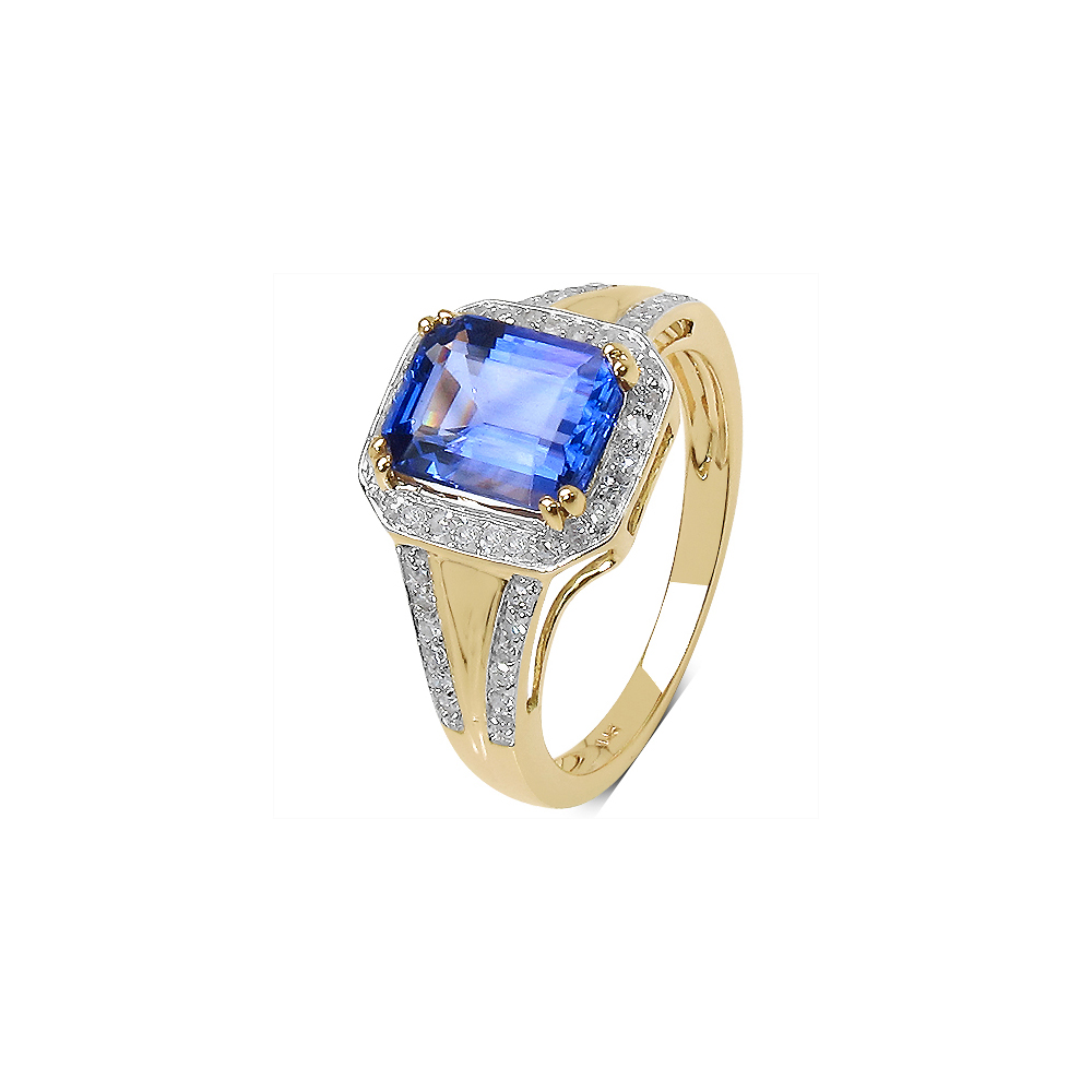2.41 CTW Tanzanite & 0.29 CTW Diamond Ring 14K Yellow Gold - REF-131M2A