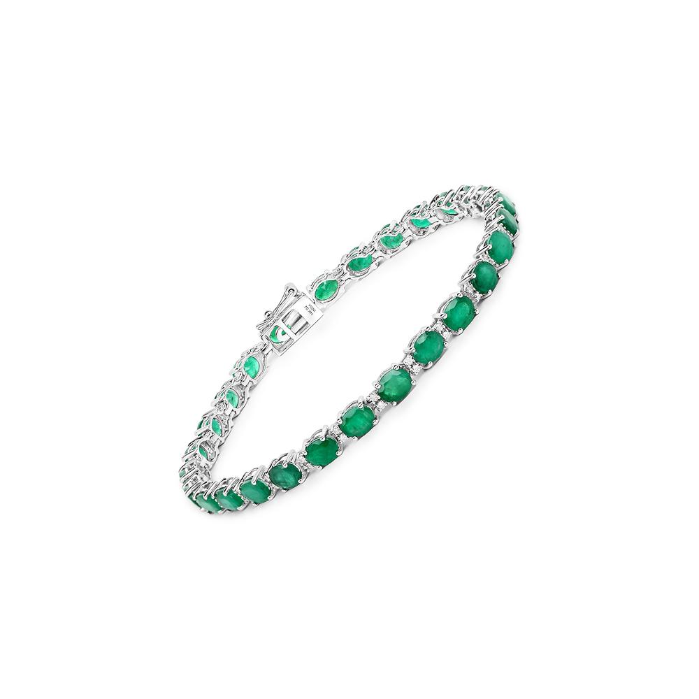 Lot 3046: 9.19 CTW Zambian Emerald & Diamond Bracelet 14K White Gold - REF-189W2F