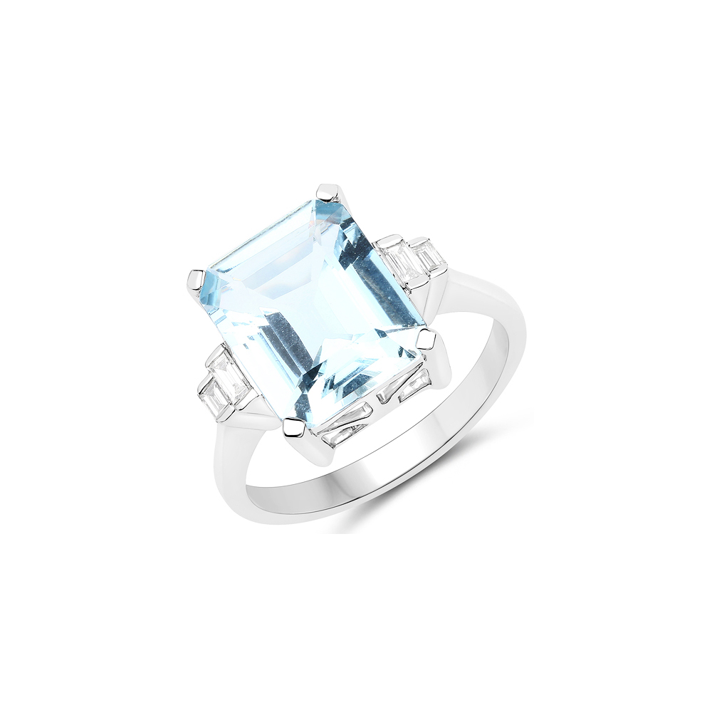 4.33 CTW Aquamarine & Diamond Ring 14K White Gold - REF-145A4V