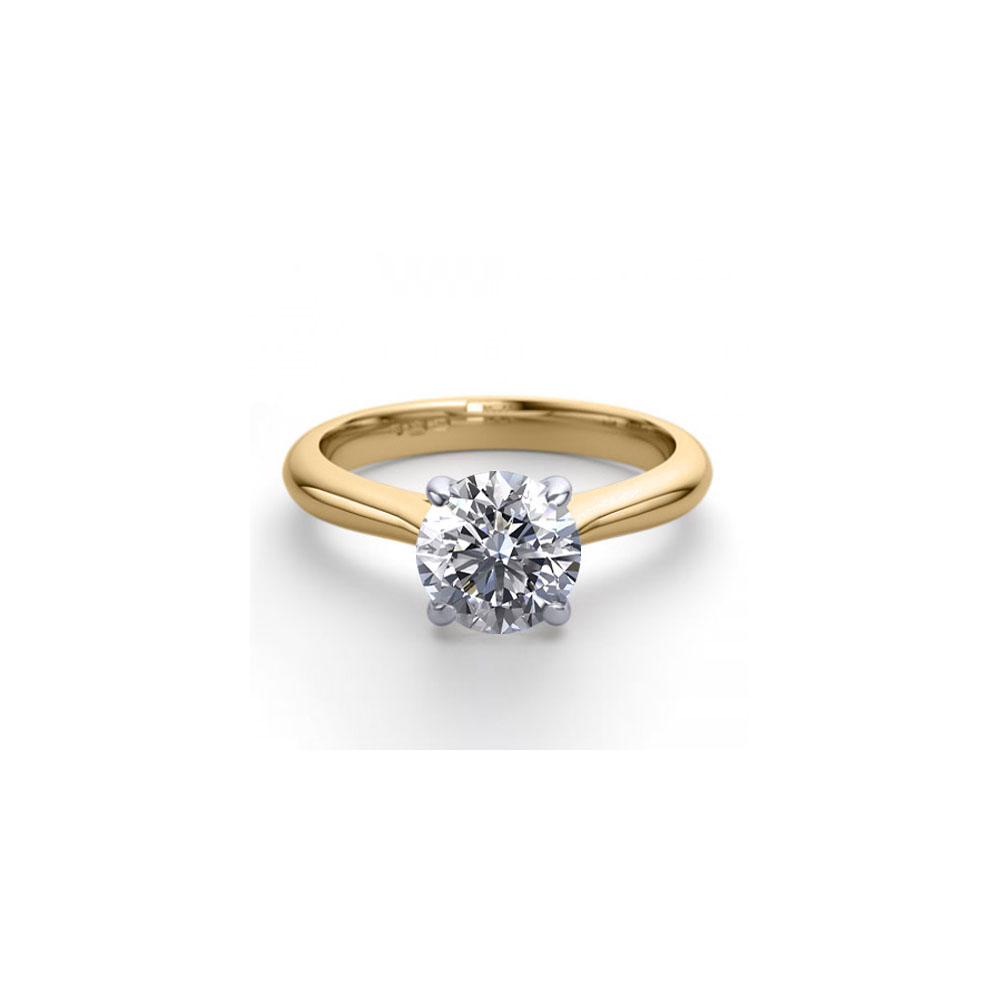 14K 2Tone Gold 1.36 ctw Natural Diamond Solitaire Ring - REF-403G2K-WJ13206