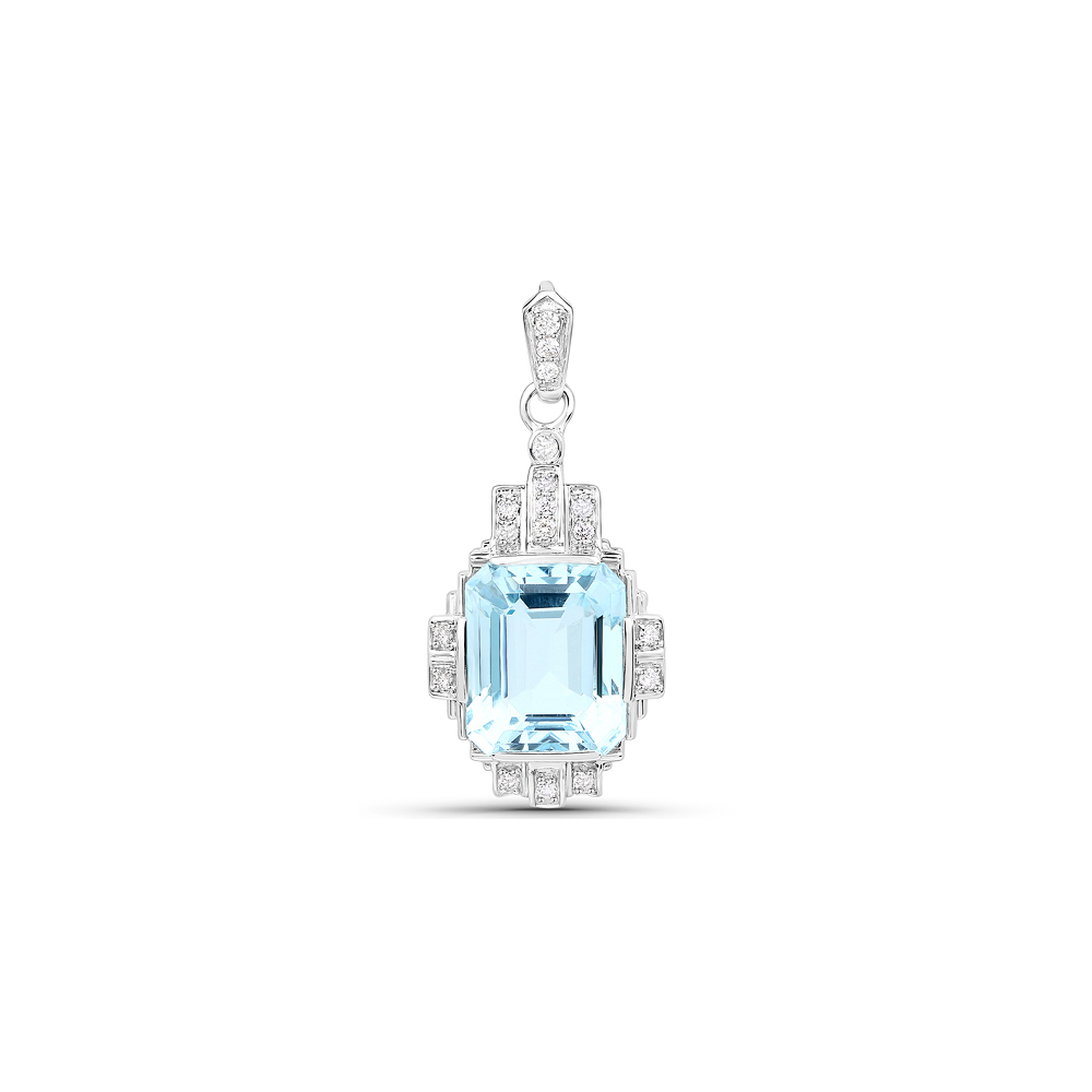 6.61 CTW Aquamarine & Diamond Pendant 14K White Gold - REF-189N4U
