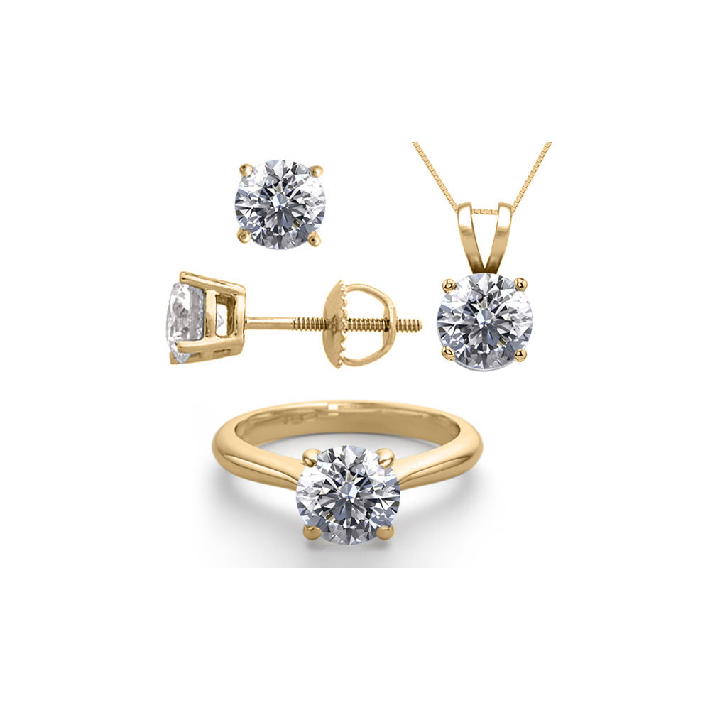 14K Yellow Gold SET 8.0CTW Natural Diamond Ring, Earrings, Necklace - REF-2619M3F-WJ13352