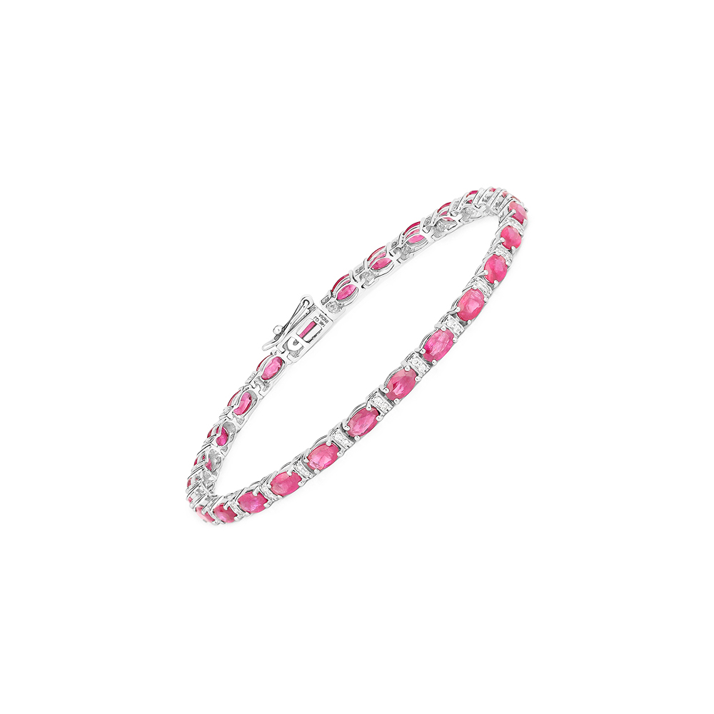 7.29 CTW Ruby & Diamond Bracelet 14K White Gold - REF-132Y4K