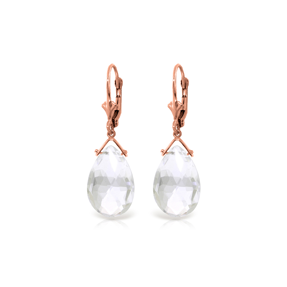 Genuine 10.20 ctw White Topaz Earrings Jewelry 14KT Rose Gold - REF-28R9P