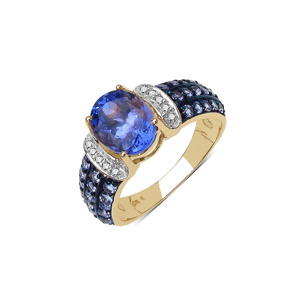2.44 CTW Tanzanite & 0.06 CTW Diamond Ring 10K Yellow Gold - REF-77K6W
