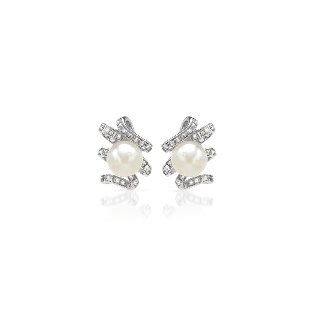 Natural 11.24 CTW Pearl & Diamond Earrings 18K White Gold - REF-110M6F