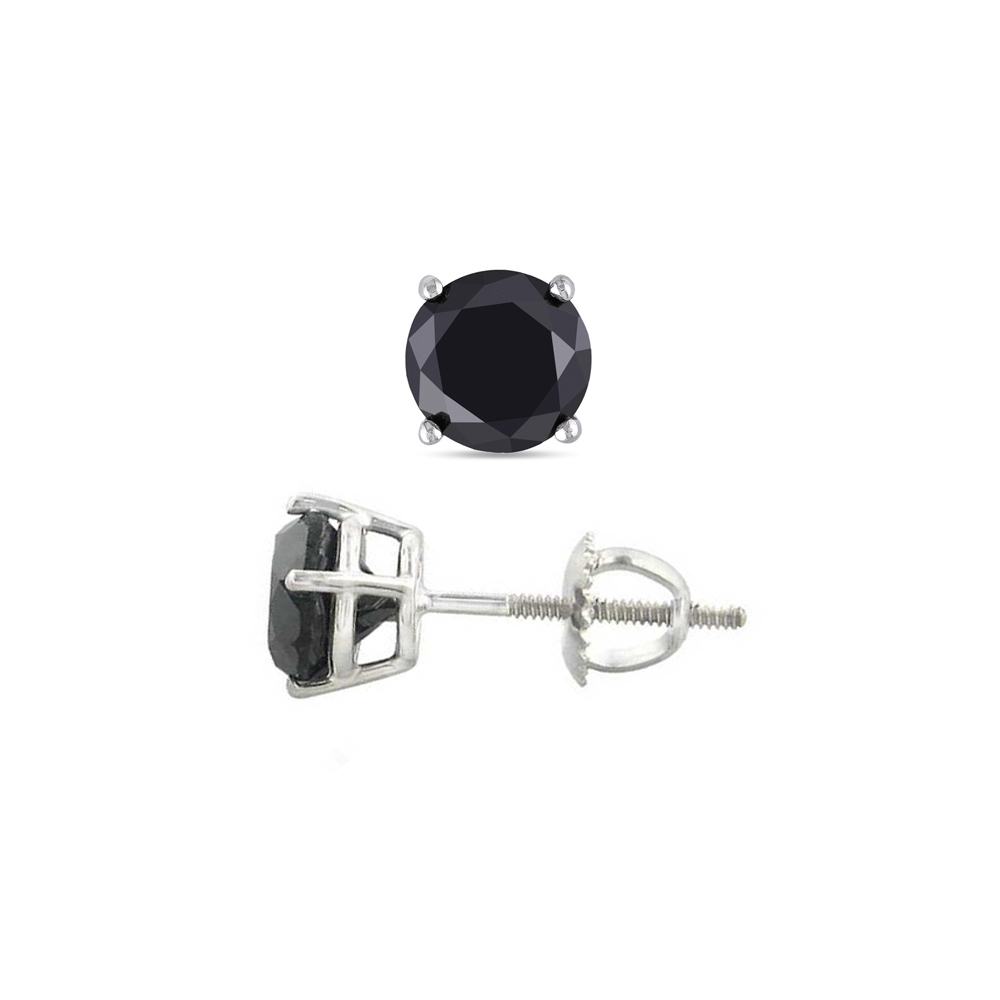 14K White Gold 2.04 ctw Black Diamond Stud Earrings - REF-119M2Y-WJ13340