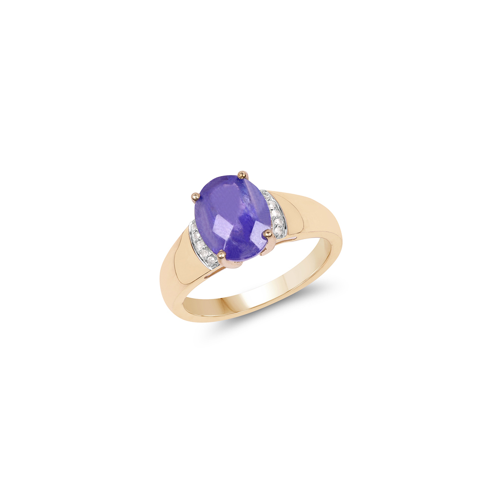 2.55 CTW Tanzanite & Diamond Ring 14K Yellow Gold - REF-108U6X