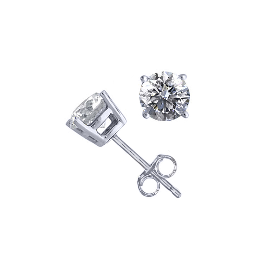 Lot 3101: 14K White Gold 1.52 ctw Natural Diamond Stud Earrings - REF-394M9K-WJ13298
