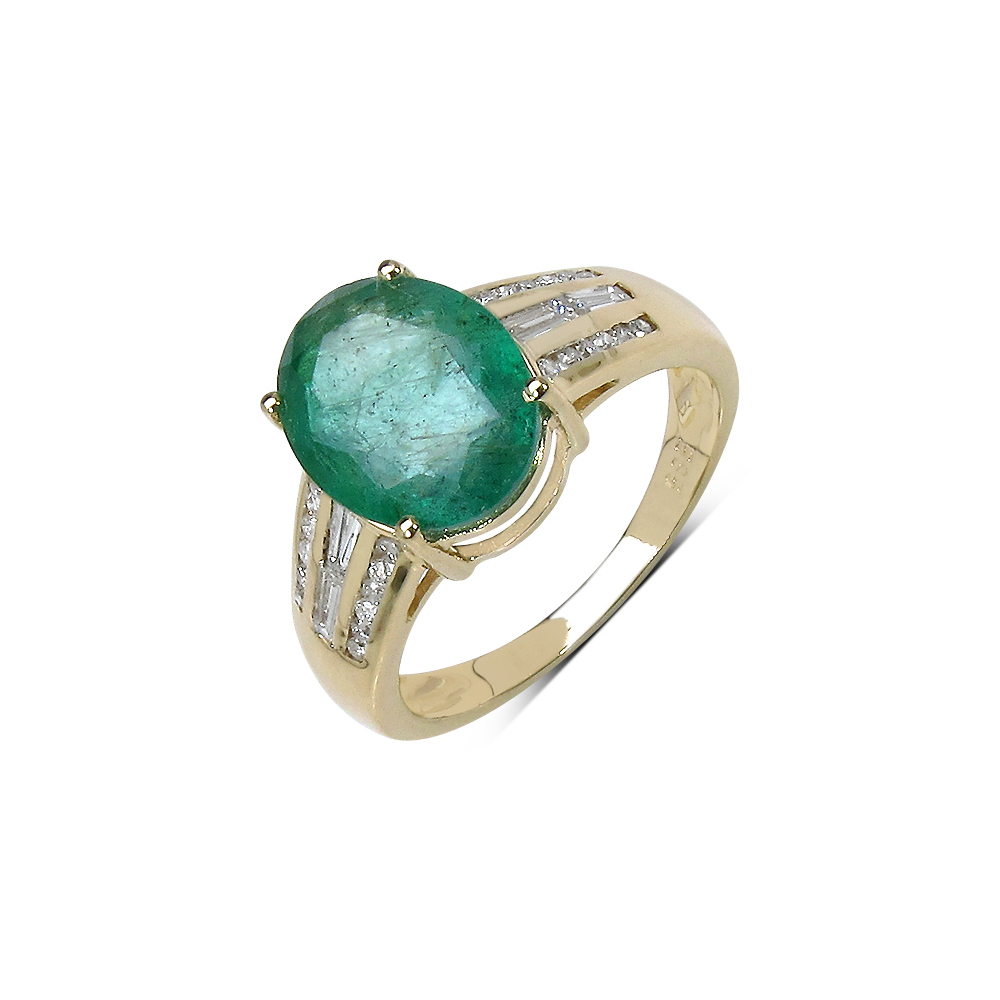 3.14 CTW Zambian Emerald & 0.36 CTW Diamond Ring 14K Yellow Gold - REF-132W6F