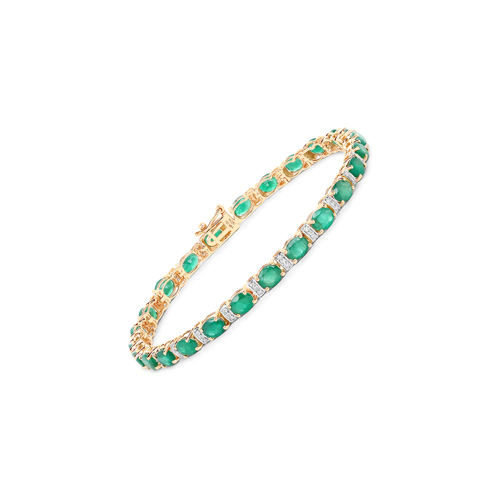 8.55 CTW Zambian Emerald & Diamond Bracelet 14K Yellow Gold - REF-177H6M